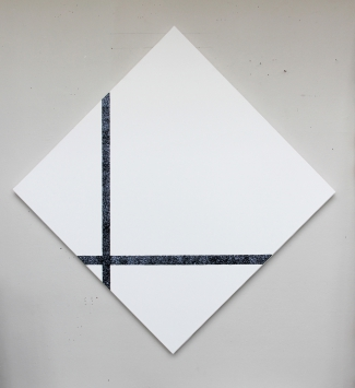 Mondrian lozange avec lignes noires