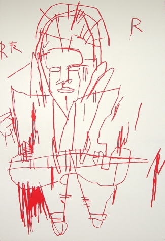 Monochrome Jean Michel Basquiat  Rouge